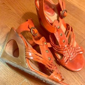 Frye, size 8, burnt orange wedge sandals